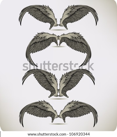 Wings of the Griffon, set. Vector illustration. - stock vector
