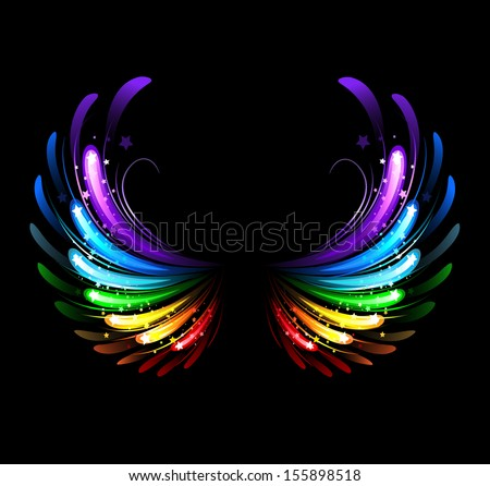 wings, painted with colorful sparkles on a black background - stock vector