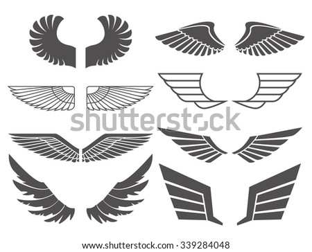 Wings set on white background. Heraldic wings. Element for logo, label and emblems design. Vector illustration.