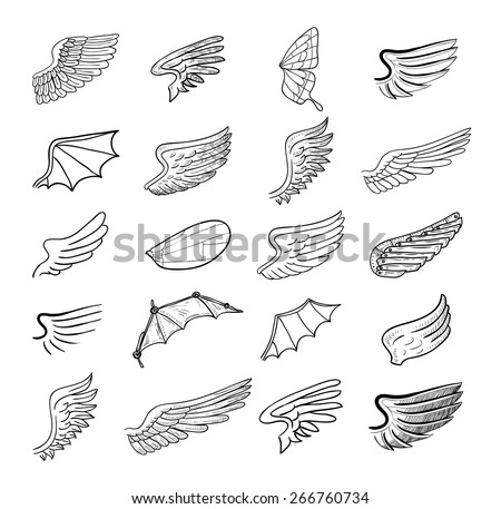 wings set, vector illustrations. - stock vector