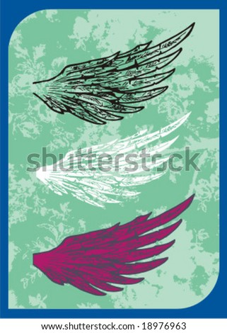 wings sketch - stock vector
