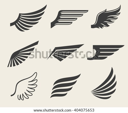Wings vector icons set. Wing set, icon wing, feather wing bird illustration - stock vector