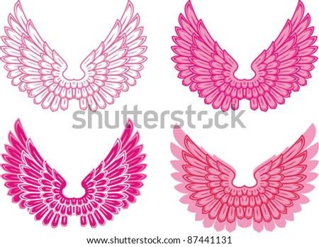 wings vector set. Vector Illustration - stock vector