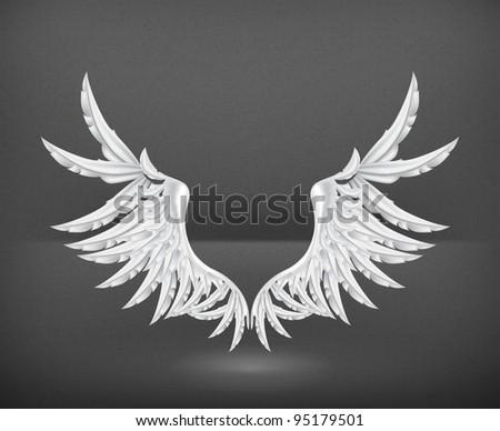 Wings White, vector - stock vector