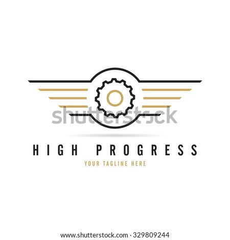 Wings With Gear Logo Template - stock vector