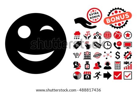 Wink Icon Bonus Pictures Vector Illustration Stock Vector 488817436