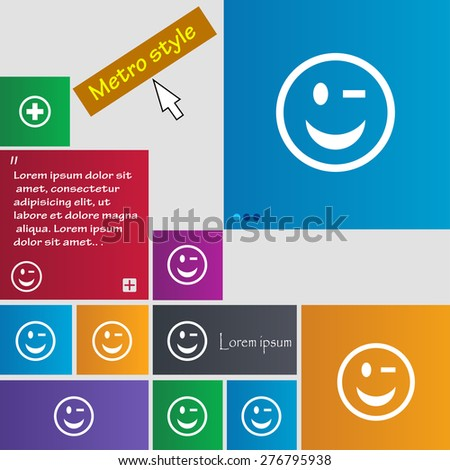 Winking Face icon sign. Metro style buttons. Modern interface website buttons with cursor pointer. Vector illustration