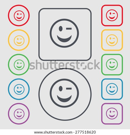Winking Face icon sign. symbol on the Round and square buttons with frame. Vector illustration - stock vector