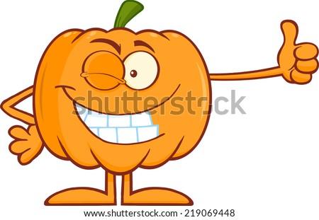 Winking Halloween Pumpkin Mascot Character Giving A Thumb Up - stock vector