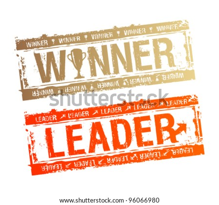 Winner and Leader rubber stamps. - stock vector
