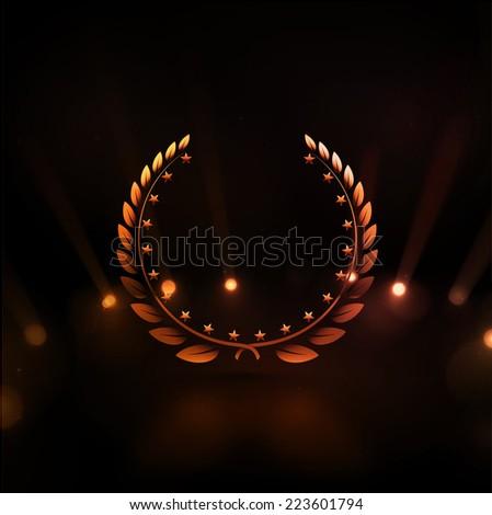 Winner background, gold laurel wreath, eps 10 - stock vector