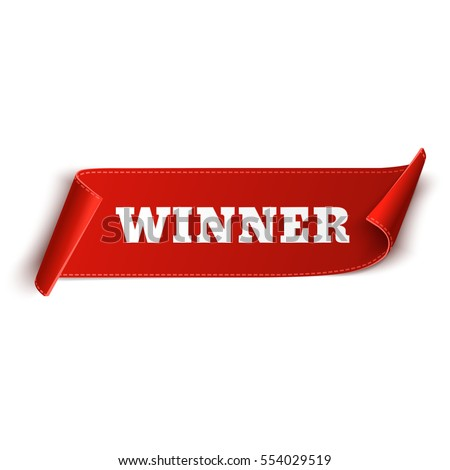 winner banner red curved ribbon isolated stock vector royalty free
