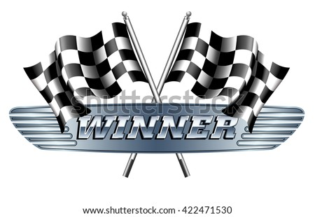 WINNER Checkered, Chequered Flags Motor Racing - stock vector