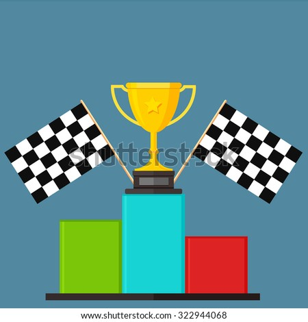 Winner, Chequer Flag, Podium, Victory Stand - Illustration