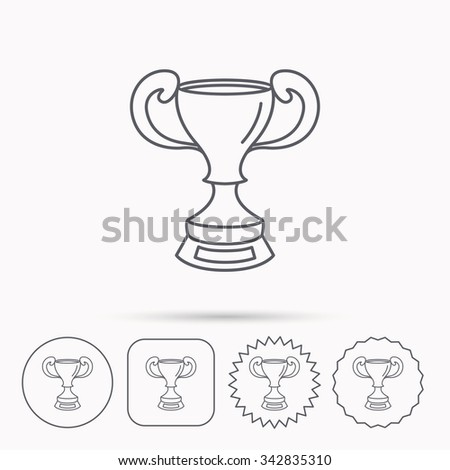 Winner cup icon. Award sign. Victory achievement symbol. Linear circle, square and star buttons with icons.