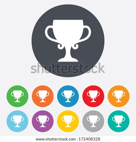 Winner cup sign icon. Awarding of winners symbol. Trophy. Round colourful 11 buttons. Vector