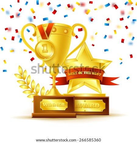 Winner cup with gold medal and star with ribbon on the white background vector illustration  - stock vector