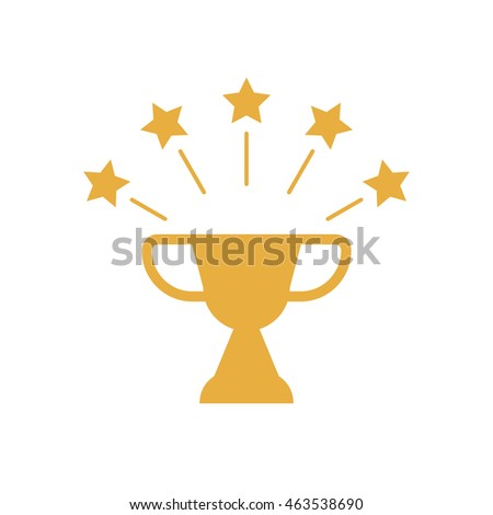 Winner cup with golden stars, symbol of victory. Vector win template in flat style for your design.