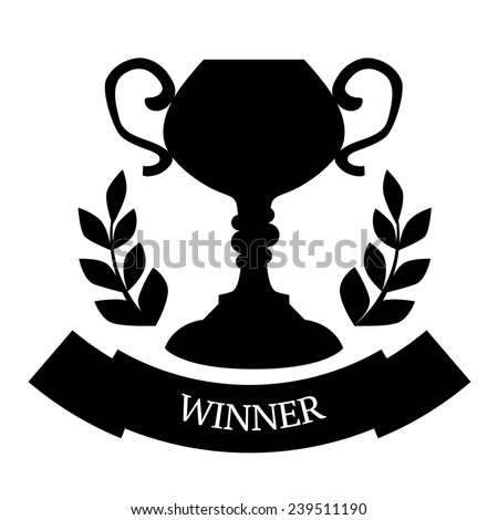 Winner goblet or cup. Victory, champion icon in flat - stock vector