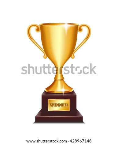 Winner gold cup isolated on white background. - stock vector