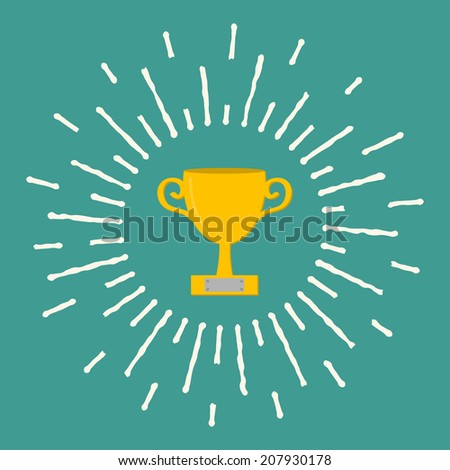Winner gold cup trophy. Award symbol in flat design style. White ray of lights. Vector illustration
