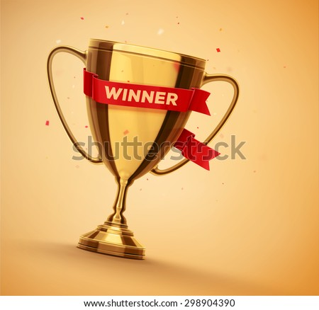 Winner gold cup with red ribbon, eps 10 - stock vector