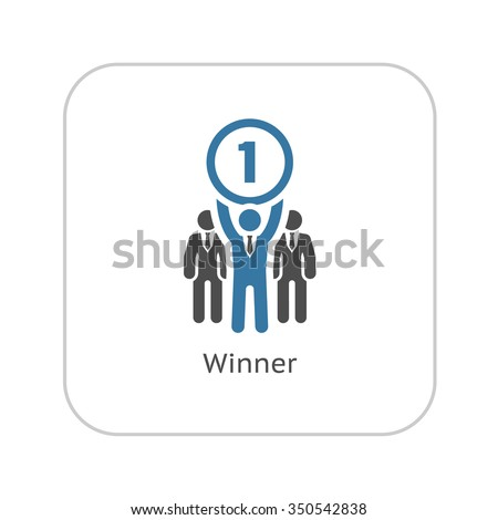 Winner Icon. Business Concept. Flat Design. Isolated Illustration. - stock vector