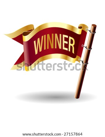 Winner icon on vector flag button - stock vector