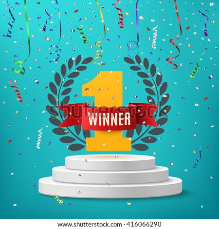 Winner, number one background with red ribbon, olive branch  and confetti on round pedestal isolated on blue. Poster or brochure template. Vector illustration. - stock vector