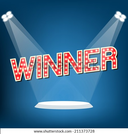 Winner on stage - stock vector