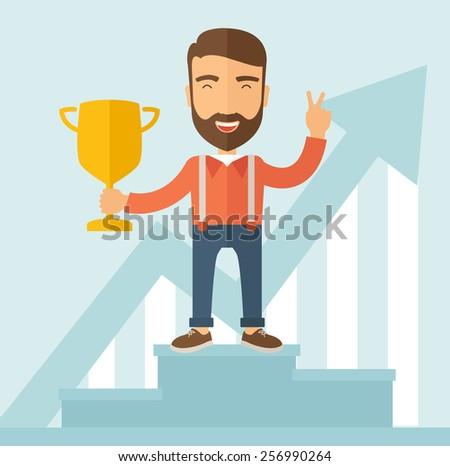 Winner on the podium. - stock vector