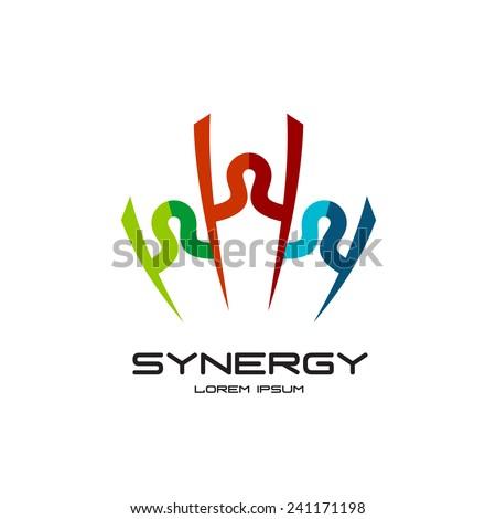 Winner people team logo template - stock vector