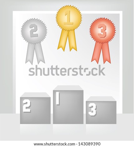 Winner podium. Medals. White backdrop in room. vector illustration. - stock vector