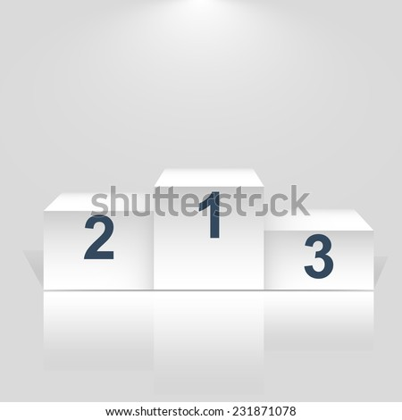 Winner podium with number on white - Vector. - stock vector