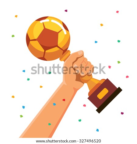 Winner team player holding soccer ball shaped cup trophy. Flat style vector illustration isolated on white background. - stock vector