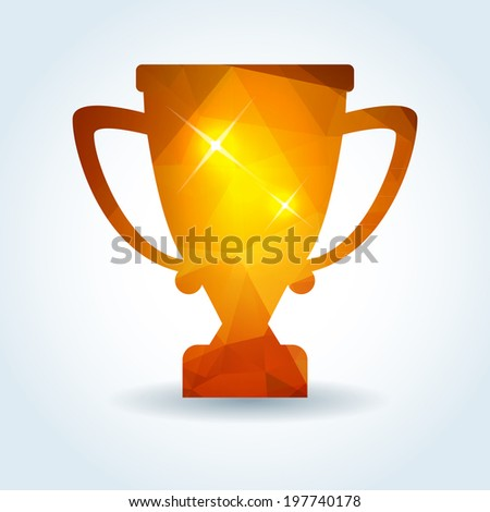 winner trophy cup icon with modern triangle pattern - stock vector
