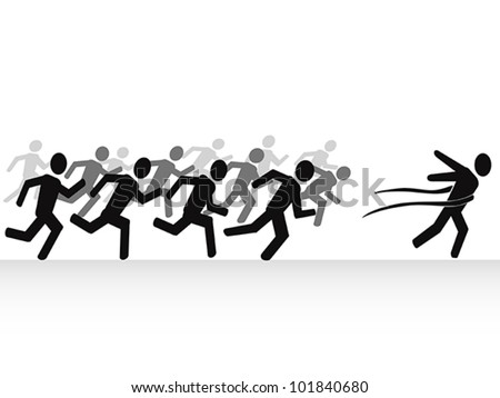 winner with finish line - stock vector