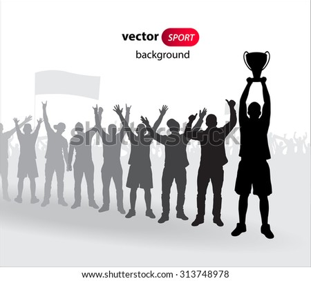 Winner with the cup - stock vector