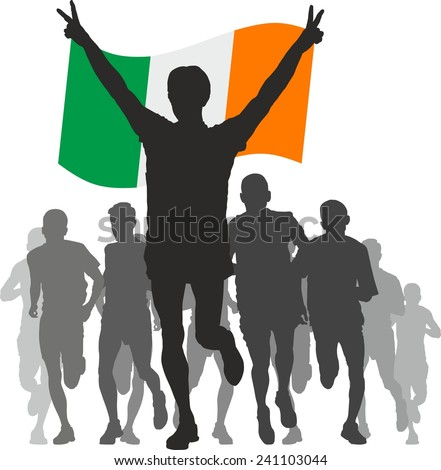Winner with the Ireland flag at the finish