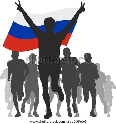 Winner with the Russia flag at the finish