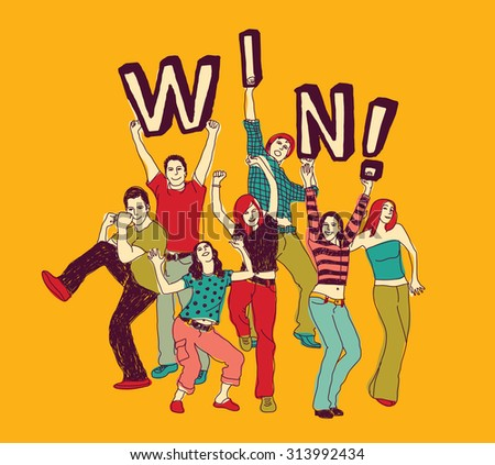 Winner young group happy people color. Group of winner happy people. Vector illustration. EPS 8 - stock vector