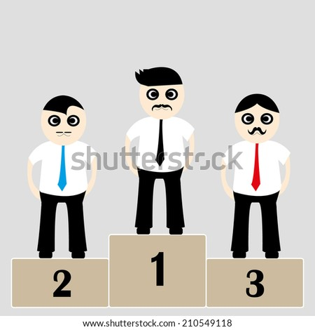 winners businessman stand on a podium - stock vector