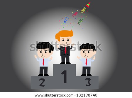Winners businessman stand on a podium , Vector - stock vector