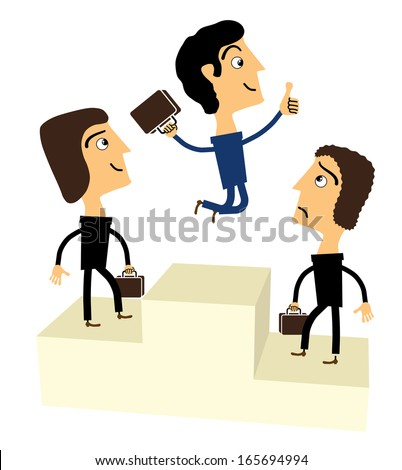 winners businessman stand on a podium. Vector
