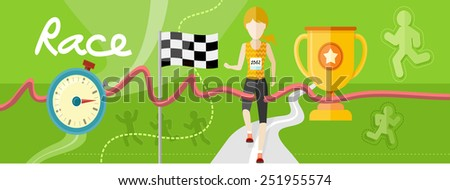 Winning athlete female crosses the finish line. Athletic woman running on track. Concept with item icons in flat design - stock vector