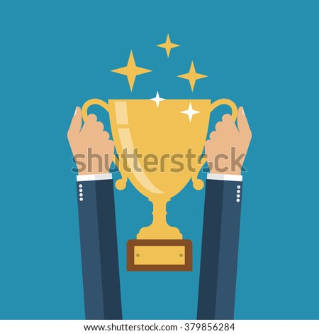 Winning cup in his hands. Symbol of success, winning, championship. Gold cup in hand. Trophy.  Golden bowl. Winner. Flat design vector illustration. leadership concept. - stock vector