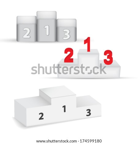 winning podium set - stock vector