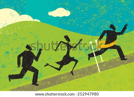 Winning the race A man winning a race and crossing the finish line ahead of other people.  - stock vector