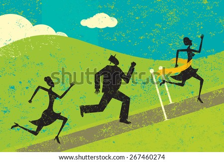 Winning the race,  A woman winning a race and crossing the finish line ahead of other people. The people and the background are on separate labeled layers. - stock vector