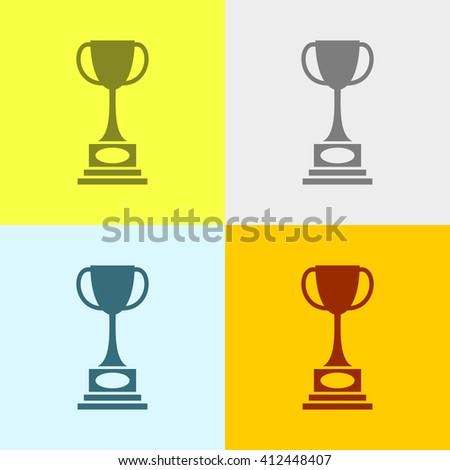 Winning Trophy Icon on Four Different Backgrounds. Eps-10.